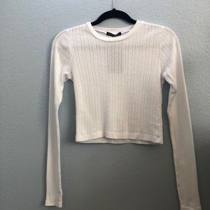 Brandy Melville Fitted Long Sleeve Knit Shirt
